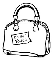 A j crew satchel that says do not touch