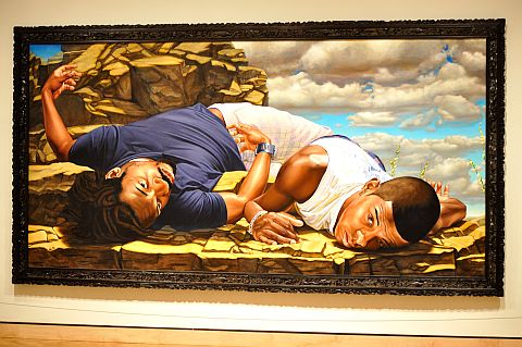 The painting Santos Dumont - The Father of Aviation II by Kehinde Wiley.