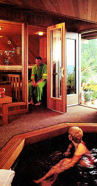 man sitting in sauna talking to woman in hot tub