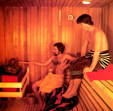 Two men hanging out in a sauna.