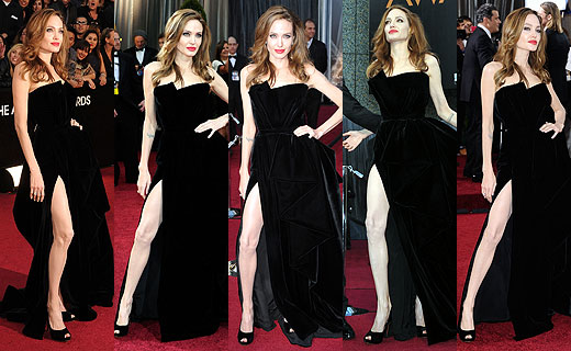 Angelina Jolie in her black gown at the Oscars in 2012.