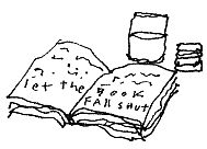 "Sketch of a book with the text ""Let the book fall shut."""