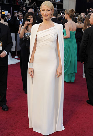 Gwyneth Paltrow in her white Tom Ford gown at the 2012 Oscars.