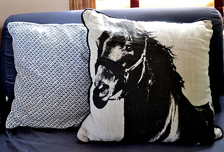 A throw pillow with a black silhouette of a horse on it.