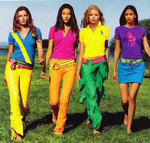 Colorful shirts and pants by Ralph Lauren. Let's hear it for color blocking!