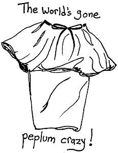 Drawing of a peplum skirt.