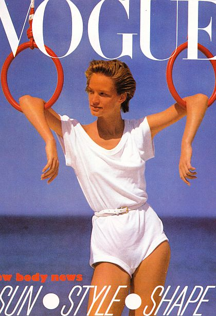 Cover of Vogue Magazine of model wearing white shorts jumper, 1980s.