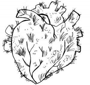 A drawing of a heart that is growing some hair.
