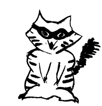 Line drawing of a raccoon.