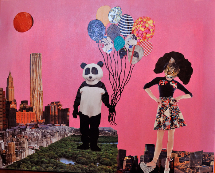 collage/painting of a panda and a cat woman in Manhattan