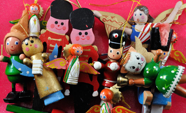 Group of wooden christmas ornaments from the 1970s