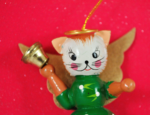 Angel kitty christmas ornament from the 1970s