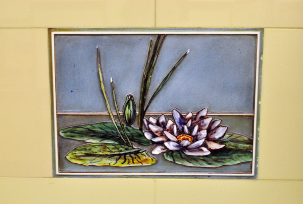 close-up of lily pad tile installed over sink
