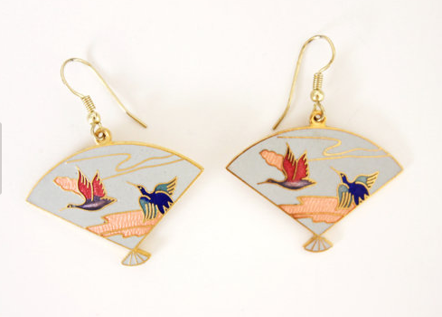 vintage cloisonne earrings of fans with cranes